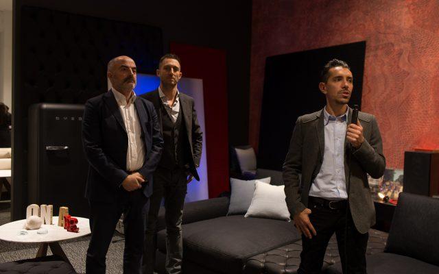Inaugurazione showroom BertO Torino Stefano Micelli, Filippo Berto e Marco crepaldi