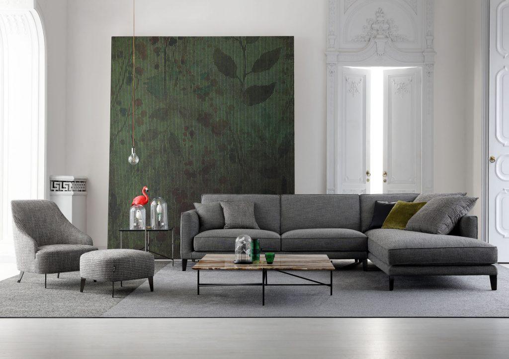 Divano componibile Time Break in tessuto con poltrona, pouf e tavolini per arredare il soggiorno