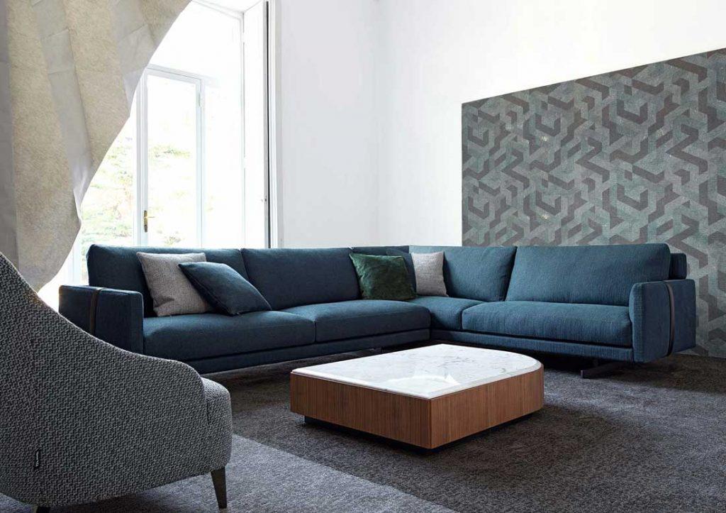 Sofá Dee Dee de esquina azul BertO the Dream Design Made in Meda