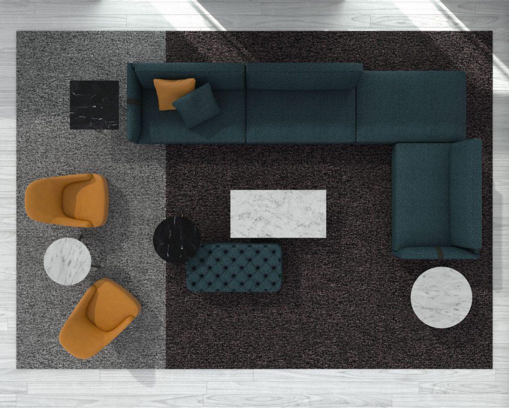 Sofá de diseño Dee Dee de BertO con los complementos de la colección 2021 de BertO