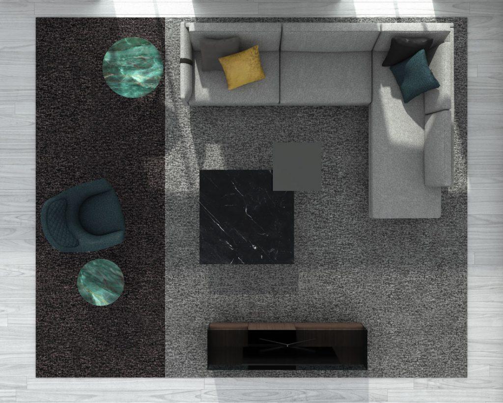 Sofá moderno Dee Dee de BertO con los complementos de la colección 2021 de BertO