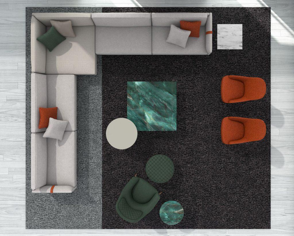 Sofá de esquina Dee Dee de BertO con los complementos de la colección 2021 de BertO
